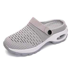 UBFEN Women's Slippers House Shoes All Seasons Mesh Slip On Air Cushion Garden Shoes Size 7 Grey