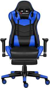JL Comfurni Gaming Chair Computer Office Desk Chair with Footrest Ergonomic Racing Chair Adjustable Recliner with Lumber Headrest and Soft PU Leather for Adults teenager(Black&Blue)