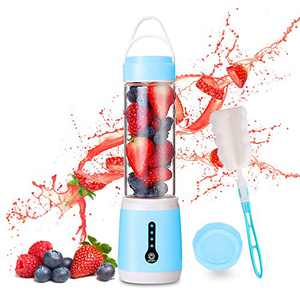 [New Upgrade] Portable Blender, WISREMT 480ML Multipurpose Mini Personal Blender with 6 Blades, 100W Powerful LED Power Indicator Fruit Crusher, USB Rechargeable Mini Juicer Cup with Cup Lid and Brush for Shakes Smoothies Kitchen Office Sport Travel (Blue)