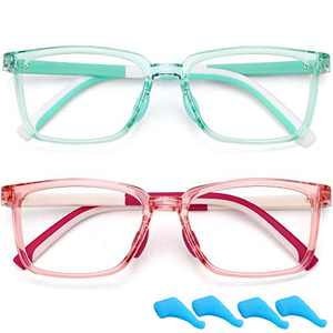 Kids Blue Light Blocking Glasses for Boys Girls Unbreakable TR Computer Gaming Glasses Filter Blue Ray Anti Eyestrain Fake Glasses Frame 2 Pack Children Age 4 to 10 (Green+Pink)