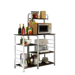 "Kitchen Baker's Rack Utility Storage Shelf 35.5"" Microwave Stand 4-Tier+3-Tier Shelf for Spice Rack Organizer Workstation (Black)"