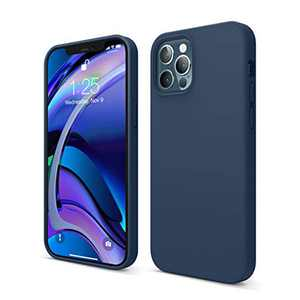 elago Liquid Silicone Case Compatible with iPhone 12 and Compatible with iPhone 12 Pro 6.1 Inch (Blue) - Raised Edges for Screen & Camera Protection