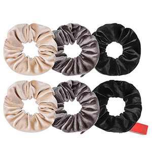 4-20 PCS Velvet Pocket Hair Scrunchies, MTSCE Secret Zipper Pocket Hair Ties Elastic Zipper Hair Accessories for Women Girls Party Black (Gray 6PC C Style)