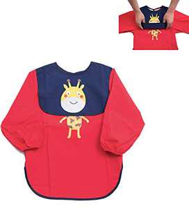 GRINETH Baby Bib Kids ,Apron for Coking,Baking,Arts&Crafts,Children Smock for Boys&Girls 0-3 Years (Red-S)