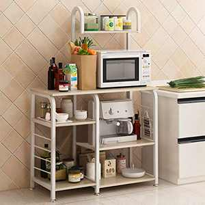 "Kitchen Baker's Rack Utility Storage Shelf 35.5"" Microwave Stand 4-Tier+3-Tier Shelf for Spice Rack Organizer Workstation (White)"