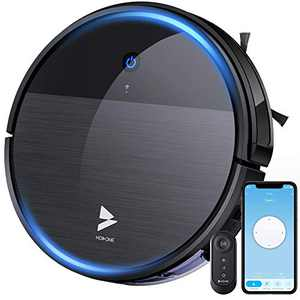 Hosome Robot Vacuum Cleaner and Mop 2200Pa Wi-Fi Robotic Vacuum, 2.7'' Super-Thin, Self-Charging, Quiet, with Boundary Strip, Compatible with Alexa, for Pet Hair/Hard Floor/Low Pile Carpet