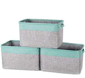 """AUGSMIAR Foldable Storage Basket, 15 × 10.8 × 9"""", Linen & TC Fabric, Books, Toys, Baby Product, Paper Towels, Clothes, Sundries Container (3 Pack, Gray & Teal)"""