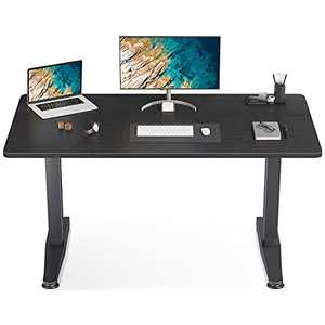 "ODK Mobile Height Adjustable Standing Desk, 55"" x 24"" Pneumatic Airlift Power Free Sit Stand Desk for Home Office, Versatile Sturdy Computer Desk, Instant Adjustment, Black"