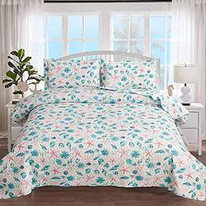 3-Piece Coastal Red Starfish Antique Quilt Set Twin Size,Blue Seashells Sea Urchin Conch in White Background, Nautical Quilted Bedspread Coverlet Bedding Set Bedroom Decor for All Seasons (Red,Twin)