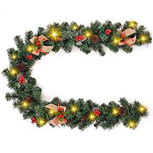 VVolf Christmas Garland with Lights, Christmas Strand Lights for Mantle Battery Operated, 6.5FT Garland String Lights Indoor with LED Red Berry Pine Cone (6 FT with Lights)