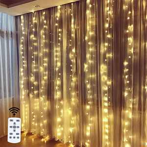 Fairy Curtain Lights, 9.8 x 9.8Ft LED String Lights USB Waterproof Indoor Outdoor with 8 Modes, Remote Control, Window Icicle Decorative Light for Bedroom, Wedding, Christmas Festival (Warm White)