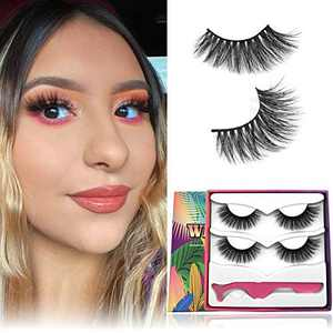 Mink Eyelashes, 18mm Middle Long Fluffy Full Siberian 3D Mink Lashes Natural Layered Handmade Flase Eyelashes Real Strips Eyelashes 1 Style 2 Pairs Fake Lashes