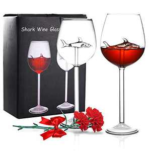 Shark Wine Glasses Set of 2,Crystal Goblets Red Wine Glasses with Great Gift Packaging for Family Parties Weddings Christmas (10 OZ)