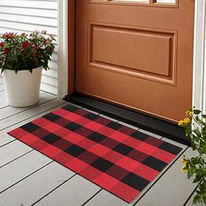 Buffalo Plaid Outdoor Rug 24'' x 35'', Collive Christmas Black/Red Woven Cotton Farmhouse Welcome Door Mat, Washable Floor Rugs Runner for Porch Kitchen Bathroom Laundry Living Room Decor