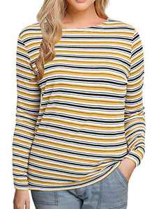 Women's Long Sleeve Striped T-Shirt Tee Shirt Tops Slim Fit Blouses (Large, Multi Yellow Stripe)