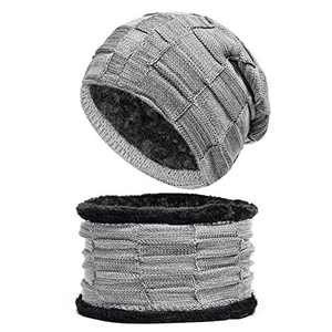Unisex Knit Beanie and Scarf Set for Fleece Lined Men Women Lightweight Hat Warm Winter Gray
