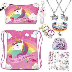 RLGPBON Unicorns gifts for girls,Unicorn Drawstring Backpack,Makeup Bag,Unicorns Jewelry,Necklace,Birthday Gifts for Girls