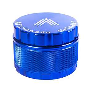"Aficionado Herb Grinder 2.5"" 4 Piece [2021 Upgraded Version One Click] Aluminum Spice Crusher with pollen Catcher (Blue)"