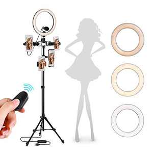 "Upgraded 10"" Selfie Ring Light with Tripod Stand 60"" Adjustable Metallic Feel Stand & 2 Phone Holder, Dimmable LED Selfie Ring Light for Live Stream, Video, Camera, TikTok Compatible with Cell Phone"
