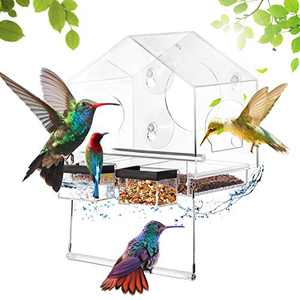 Delxo Window Bird Feeder, Acrylic Bird House With Removable Swing & Sink, 3 Optional fixed Ways(Adsorption/Fixation/Hanging), Drain Holes, Side Arches, Weather Proof Outdoor Birdhouse Shape Bird House