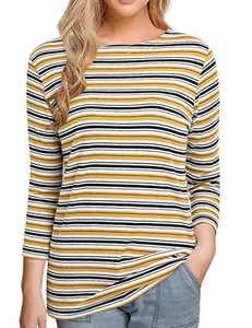 Women's 3/4 Sleeve Striped T-Shirt Tee Shirt Tops Slim Fit Blouses (Large, Multi Yellow Stripe)
