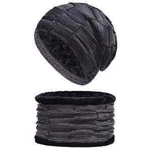 Unisex Knit Beanie and Scarf Set for Fleece Lined Men Women Lightweight Hat Warm Winter Black