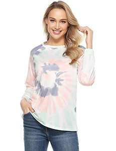 Doaraha Women's Long Sleeve Tops Tie Dye Loose Casual T-Shirts Sweatshirt Crewneck Tee Blouses Pullover Blouses