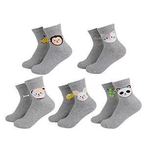 INKOOMA Women's Animal Socks – Pair Of 5 Cute Socks Durable and Soft Cotton(100%)(Gray)