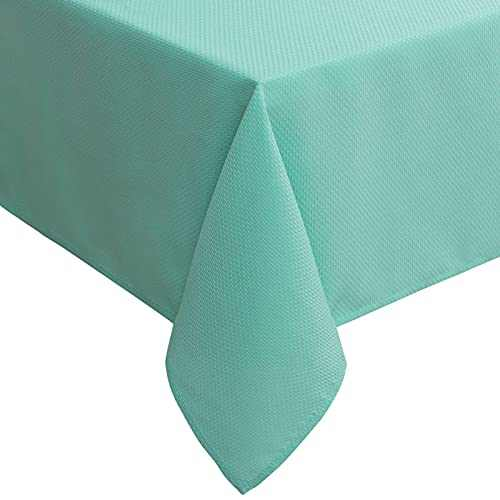 """Lipo Rectangle Tablecloth Waterproof Jacquard Stain Proof Table Cloth Wrinkle Resistant Spillproof Soil Resistant Table Cover for Dinner Weddings Kitchen Parties 52""""×70"""" Turquoise"""