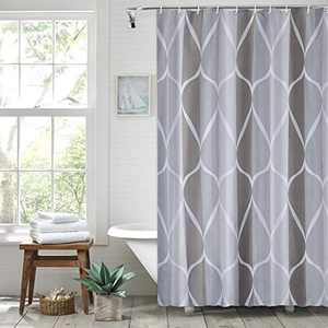Punemi Shower Curtain for Bathroom with 12 Hooks, Waterproof , Polyester Fabric Machine Washable Shower Curtains 72 x 72 Inch (Grey)