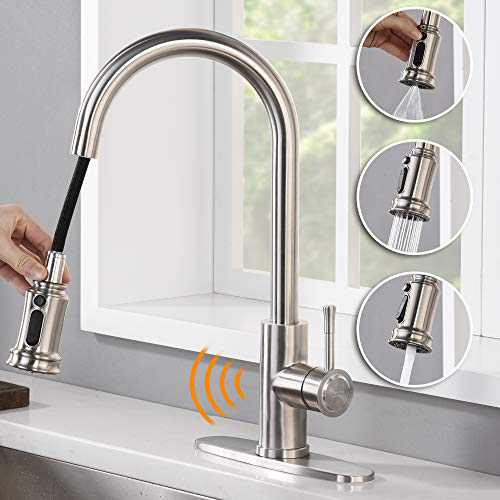 AMAZING FORCE Touchless Kitchen Faucet with 3 Modes Pull Down Sprayer, Single Handle Automatic Motion Sensor Kitchen Sink Faucet with Fingerprints Resistant, Brushed Nickel
