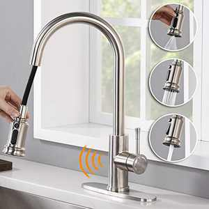 AMAZING FORCE Touchless Kitchen Faucet with 3 Modes Pull Down Sprayer, Single Handle Automatic Motion Sensor Kitchen Sink Faucet with Fingerprints Resistant, Brushed Nickel 1.8 GPM