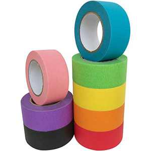 ATACAT Colored Masking Tape - 8 Pack of 1 Inch x 14.2Yards Rainbow Colors Painters Tape - Colorful Craft Art Paper Tape for Kids Labeling Arts Crafts DIY Decorative Coding Decoration Teaching Supplies