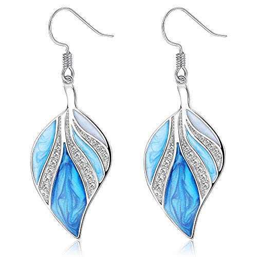 Sllaiss Sterling Silver Tear Drop Earrings for Women Dangle Fashion Gifts for Women Blue Earrings with Bling Little Rhinestone