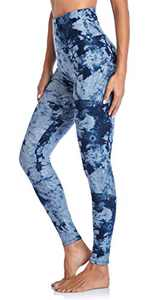 CAMPSNAIL Printed High Waisted Leggings for Women - Pattern Soft Tummy Control Yoga Pants Workout Tights for Cycling Sports (Tiedye Blue, Small-Medium)