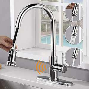 AMAZING FORCE Touchless Kitchen Faucet with 3 Modes Pull Down Sprayer, Single Handle Automatic Motion Sensor Kitchen Sink Faucet with Fingerprints Resistant, Chrome 1.8 GPM