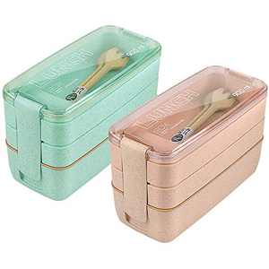 Bento Box Set, HSYTEK 3 Layer Bento Boxes for Men and Women, 900ml Lunch Container 3 Compartment, for School, Ofice, Camping | With Spoon and Fork