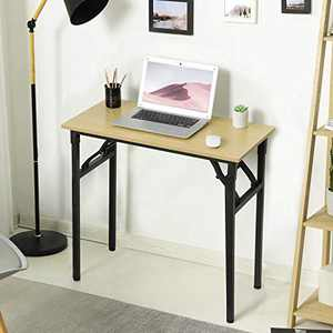 Itaar Folding Desk, Small Desk 31.5 Inch Writing Computer Desk No Assembly Required. Sturdy and Heavy Duty Desk for Small Space, Teak