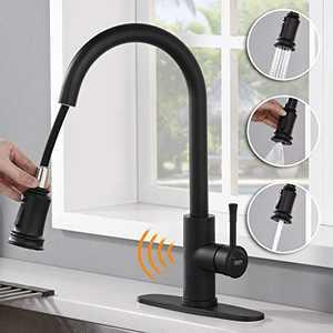 AMAZING FORCE Touchless Kitchen Faucet with 3 Modes Pull Down Sprayer, Single Handle Automatic Motion Sensor Kitchen Sink Faucet with Fingerprints Resistant, Matte Black