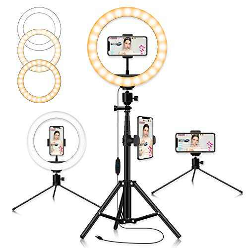 """Selfie Ring Light 10"""" With Tripod Stand, 3 Light Modes Dimmable Ring Light With 61.4"""" Tripod And Phone Holder For Makeup Live Stream Video Photography, Usb Powered 3 Light Modes & 11 Brightness Levels"""
