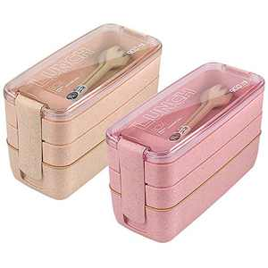 Bento Box Sets, HSYTEK 2 Pack 3 Compartment Lunch Boxes for Men and Women, 900ml 3 Layer Kid Lunch Box, for School, Ofice, Camping | With Spoon and Fork