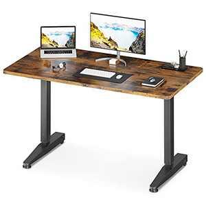 "ODK Manual Height Adjustable Standing Desk, 55"" x 24"" Pneumatic Airlift Power Free Sit Stand Desk for Home Office, Mobile Versatile Sturdy Computer Desk, Instant Adjustment, Vintage Brown"