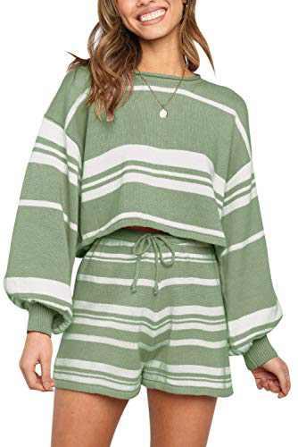 SYZRI Women's 2 Piece Knit Outfits Puff Sleeve Crop Top Shorts Set Sweater Sweatsuit, StripeGreen, XL