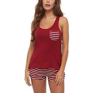 Lu's Chic Women's Short Pajama Set Tank Pjs Striped Sleeveless Two Piece Sleepwear with Pockets Red X-Large