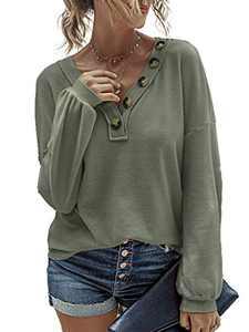 Avanova Women's Waffle Knit Shirt Button V Neck Long Sleeve T Shirt Casual Pullover Sweater Green X-Large