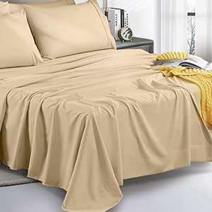 UNILIBRA King Bed Sheet Set,6 Pieces Super Soft Brushed Microfiber Sheets Set for King Size Bed, Luxury 1800 Thread Count, 16 Inches Deep Pockets, Wrinkle & Fade & Stain Resistant Cream Sheet Sets