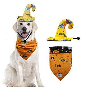 XIRGS Dog Halloween Bandana and Hat Set of 2, Washable and Adjustable Pet Neckerchief Hat Accessories Halloween Costumes for Small or Large Cats Dogs Pets Holiday Halloween Party Using