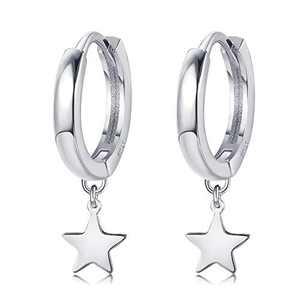 Sllaiss Sterling Sliver Star Hoop Earrings for women Cute Star Dangle 14K Gold White Gold Plated Huggie Hoop Earrings