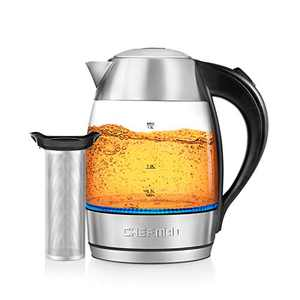 Chefman 1.8L Electric Glass Kettle+ w/Rapid-Boiling & 7 Presets for Precise Temperature, Stainless Steel Tea Infuser Included, Advanced Digital Control