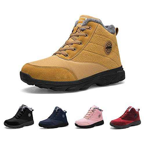 BenSorts Winter Boots for Womens Fur Lined Anti-Slip Warm Snow Boots Outdoor Ankle Booties Camel Size 5.5
